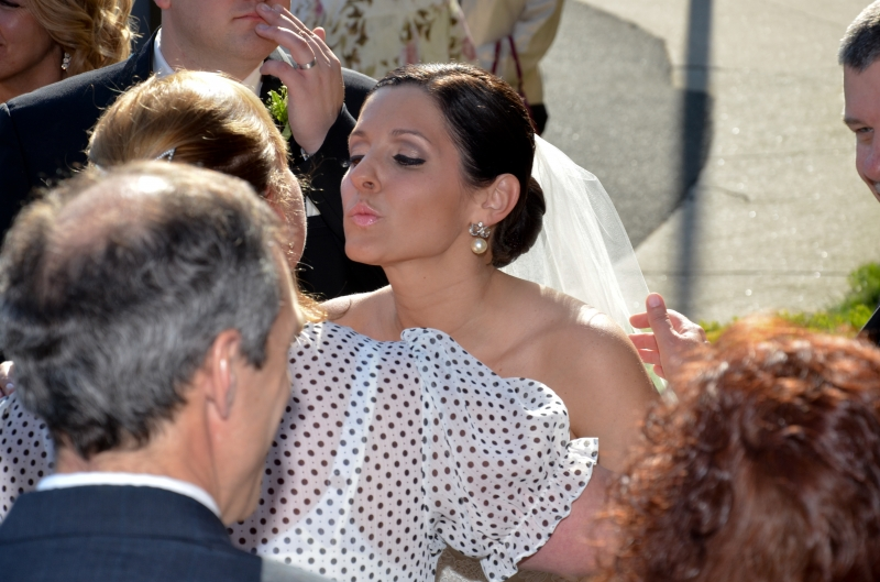 Nicole Sanders Wedding: Good luck kiss - Bridal Makeup in CT